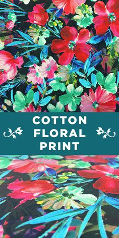 Colorful Tropical Floral Cotton Pirnt