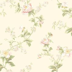 York Wallcoverings WA7755 Waverly Classics Forever Yours Trail Wallpaper Cream / Pale Pink / Peach Pink / White / Amber Home Decor Wallpaper Wallpaper