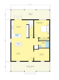 Cottage Style House Plan - 2 Beds 2 Baths 1616 Sq/Ft Plan #497-13 Floor Plan - Main Floor Plan - Houseplans.com