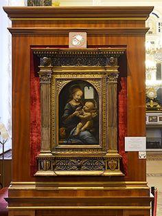 レオナルド・ダ・ヴィンチ『ブノワの聖母』の展示風景。