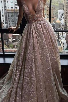 Sexy Deep V-neck Sleeveless Court Train Prom Dress Backless with Sequins prom,prom dress,long prom dress