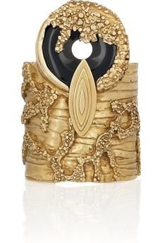 YSL gold plated agate cuff