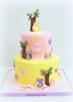 Owls and Butterflies Baby Shower Cake - Love the color combination on this design.