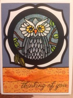 Elizabeth Craft designs #2560-Owls with ultra fine glitter. Cricut cartridge Elegant Edges. Colored with Copic markers.
