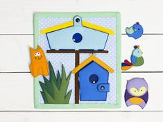 Custom quiet book page, Busy book, Educational toy, Felt play mat, Gift for baby, Fine motor skills, Birds in birdhouses, Activity toddler