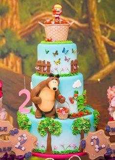 2nd Birthday Party Themes, Baby Birthday Cakes, Twin Birthday, Bear Birthday, Unicorn Birthday Parties, Masha Et Mishka, Masha Cake, Happy Birthday Maria, Marsha And The Bear