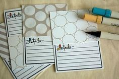How to make your own journal cards with stamps and pattern paper.