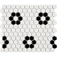 "SomerTile FXLM1HGH Retro Hex Heavy Flower Porcelain Floor and Wall Tile, 10.25"" x 11.75"", Glossy White/Black"