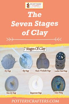 The Seven Stages Of Clay pottery making tips for beginners - 7 stages of clay - find out how important each one is – bonus - a secret stage 8 - pottery crafters Clay Art Projects, Ceramics Projects, Clay Crafts, Ceramic Clay, Ceramic Pottery, Pottery Art, Pottery Workshop, Pottery Studio, Pottery Courses