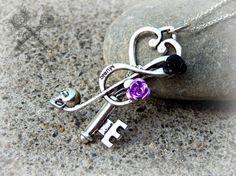Music Note Key Necklace / Purple Black Silver Skull Treble Cleft Pendant / Handmade Gothic Costume Jewelry /Alternative Biker Summer Fashion