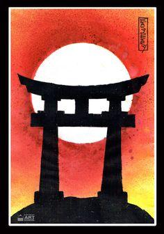 japanese easy gate torii japan peasy simple painting paintings artists