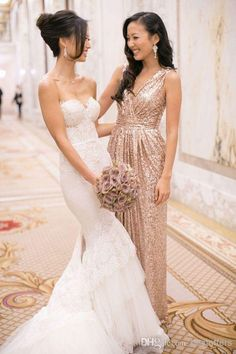 Wholesale cheap bridesmaid dress online, 2014 spring summer - Find best 2015 sequins bridesmaid dress with v neck pleats/ruches sexy A line champagne/gold evening wedding party gowns at discount prices from Chinese bridesmaid dress supplier on DHgate.com.