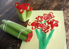 Take some celery and some rubar bands, Put the rubar bands around the celery and cut the top off and put paint on the top and press down on a piece of paper as many times then paint a stem and wah-lah!