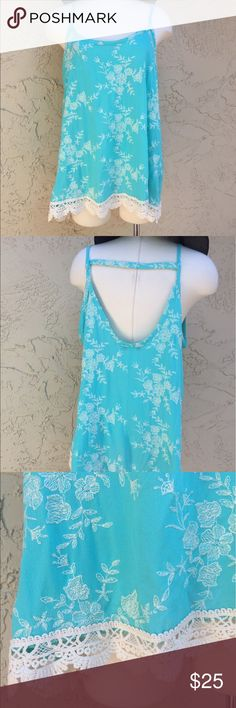 "100% Cotton New Turquoise Embroidery Top New never been worn by Janette Plus Turquoise  Color With White Embroidery Throughout The Top, Delicate Crochet Trim, This Cute Top Will Fit Sizes 1x and 2x Measure 24"" armpit to armpit , 28"" Length. Janette Plus Tops Camisoles"