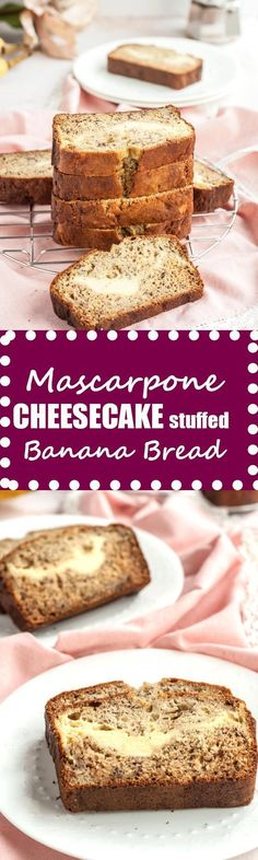 This amazing mascarpone cheesecake stuffed banana bread is made with half the butter and sugar of most banana breads but still super sweet and tender.#healthy #mascarpone