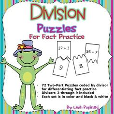TPT $4.00 Division: Puzzles for practice of division facts. Self-Checking   Please note that this resource is included in a bundle that includes multiplication and division products.  Purchasing the bundle will save you  $2 compared to buying each product individually!