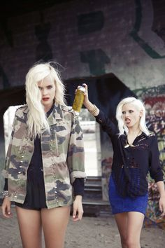 Left: Studded camo jacket, high waisted leather shorts  Right: Laser cut out woven top, Furst of a Kind suede skirt