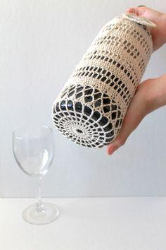 Crochet Wine Cozy Handmade Wedding Gift Bag Organic Cream Cotton