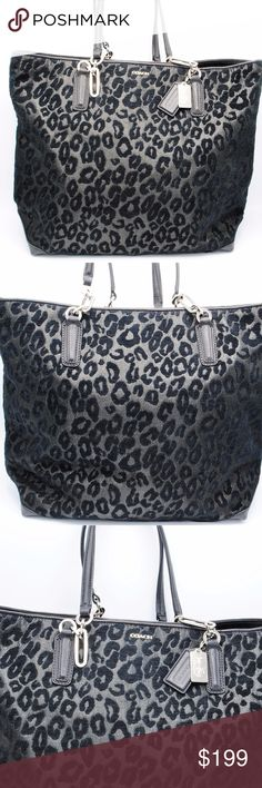 "Coach 26639 Madison Chenille Ocelot Tote Bag NWT Coach Madison Chenille Ocelot North South Tote   Brand New With Tags  100% Authentic Style 26639 Retail 298 Silver Black  Ocelot print chenille fabric with leather trim Inside zip, cell phone and multi-function pockets Silver hardware  Dogleash closure, fabric lining  Handles with 9 1/2"" drop  Measurements: 17 3/4"" (L) x 13 1/2"" (H) x 5 1/2"" (W)  Comes with care card and original tag.  No trades. Coach Bags Totes"