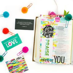 mixed media step by step Bible journaling tutorial by Amy Bruce | How He Loves Us devotional by Stephanie Buice