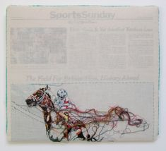 """""""Hand-embroidery on cotton muslin upholstered around the May 18, 2008 edition of The New York Times."""" by Lauren DiCioccio"""