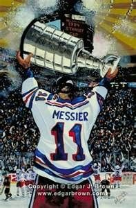 Brown Hockey painting features Mark Messier holding up the Stanley Cup after the New York Rangers won the Stanley Cup in Rink Hockey, Ice Hockey Teams, Hockey Stuff, Sports Teams, Sports Art, New York Rangers, Mark Messier, Hockey Rules, Rangers Hockey