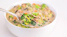 Rach's one-pot soup is a delicious way to eat your broccoli—in a creamy broth with shredded rotisserie chicken + 2 kinds of rice. Chicken Broccoli Soup, Chicken Rice Soup, Wild Rice Soup, Creamy Chicken, Healthy Chicken, Soup Recipes, Cooking Recipes, Thm Recipes, Amigurumi