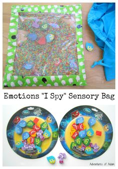 Emotions I Spy Sensory Bag. Teach toddlers and preschoolers about the five basic emotions with this sensory bag. Use Inside Out mini erasers to locate the matching emotion in the diy sensory bag.