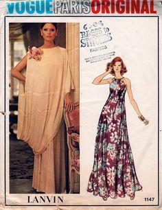 Vogue 1147 1970s Misses LANVIN Evening Halter Dress by mbchills