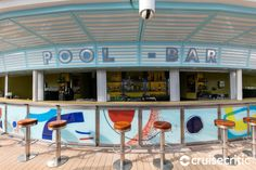 Pool Bar (Deck Right next to the main pool, this place serves beer, soft drinks, wine and cocktails to thirsty sunbathers. Jewel Of The Seas, Pool Bar, Cruise Port, Cocktails, Drinks, Caribbean Cruise, Barbados, Deck, Wine