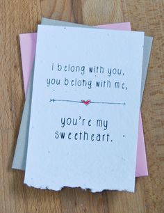 Valentine Plantable Seed Paper Valentines Day Greeting Note Card, Youre My Sweetheart, The Lumineers. $3.50, via Etsy.