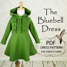 Girls Dress, PDF sewing pattern, Childrens Kids clothing pattern, Stretch Pattern, Instant Download, Girls Dress PDF, The Bluebell Dress. $6.95, via Etsy.