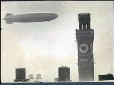 The German dirigible Hindenburg flying over Baltimore, soaring past the Bromo-Seltzer tower. (August 11, 1936/Baltimore Sun file)