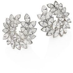 Kenneth Jay Lane Crystal Leaf Clip-On Earrings (€140) ❤ liked on Polyvore featuring jewelry, earrings, brinco, apparel & accessories, silver, crystal jewellery, kenneth jay lane earrings, crystal jewelry, earring jewelry and crystal clip on earrings