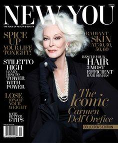 Carmen Dell'Orefice, a top model mais velha do mundo em atividade, na capa da 'New You'