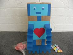 easy (& super inexpensive) robot treat/valentine bag. perfect for boys