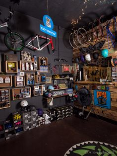 Path Bicycle and Ride Shop – Photography by Allen Rowand Bicycle Cafe, Bicycle Garage, Bicycle Store, Motorcycle Garage, Ski Shop, Bike Tool Storage, Overhead Garage Storage, Shop Interior Design, Garage Workshop