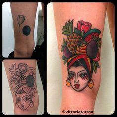 Cover up with Carmen Miranda  Tattoo shop Como Vittoriatattoo studio di tatuaggi como via alessandro volta 49 22100 Como Italy #tattoocomo #vittoriatattoo