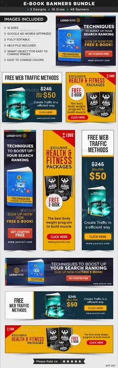 E-Book Banners Bundle - 3 Sets - Banners & Ads Web Elements