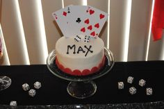 Custom cake - mini cake - cake with cupcakes... Playing Cards.. Poker.. Blackjack... dice... Casino... 21st birthday... ORDER HERE --> https://www.facebook.com/StefsEvents