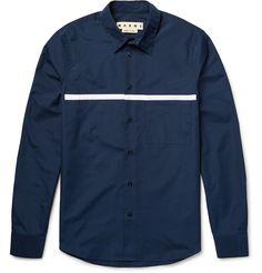 Slim-Fit Appliquéd Cotton-Poplin Shirt   MR PORTER