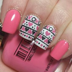 These would be really nice nails for valentines day because of the love hearts