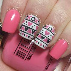 Valentine's Day manicure Nail Art,  hearts,  by nailstorming #nail #nails #nailart | See more nail designs at http://www.nailsss.com/french-nails/2/