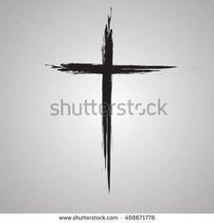 Hand drawn black grunge cross icon, simple Christian cross sign, hand-painted cross