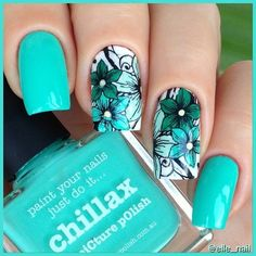 "Picture Polish ""Chillax"" and reversestamping with Picture Polish ""Chillax"" & ""Tiffany"" & ""Enchanting"" & pueen plate Pretty Nail Art, Beautiful Nail Art, Gorgeous Nails, Acrylic Nail Designs, Nail Art Designs, Acrylic Nails, Picture Polish, Floral Nail Art, Nail Polish Art"