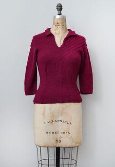 VINTAGE 1930S SWEATER CHEVRON STRIPES | Raspberry Treacle Sweater