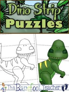 Dinosaurs 5-Piece Strip Puzzles {FREEBIE} 4 Different Dinosaurs Included. They come in both black/white and color.