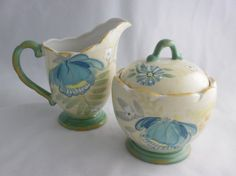 Pfaltzgraff Vintage Floral China Cream and Sugar Bowl with Lid at TheMichiganAttic