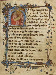 Lunar prognostication in verse: England, 15th century (London, British Library, MS Harley 2320, f. 31r).