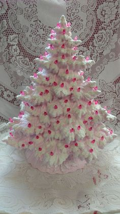 Made to Order Frazier Fir Lighted Ceramic Christmas Tree - Pink - Christmas Vintage Ceramic Christmas Tree, Pink Christmas Tree, All Things Christmas, Christmas Wreaths, Christmas Crafts, Christmas Decorations, Holiday Decor, Xmas Trees, Christmas Villages